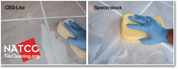 removing excess epoxy grout with sponge
