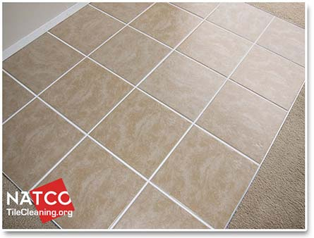 clean ceramic tile floor with white grout