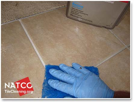 cleaning ceramic tiles with acidic cleaner