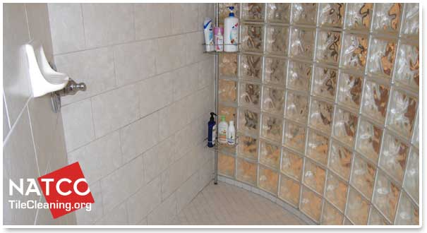 how to clean glass shower blocks