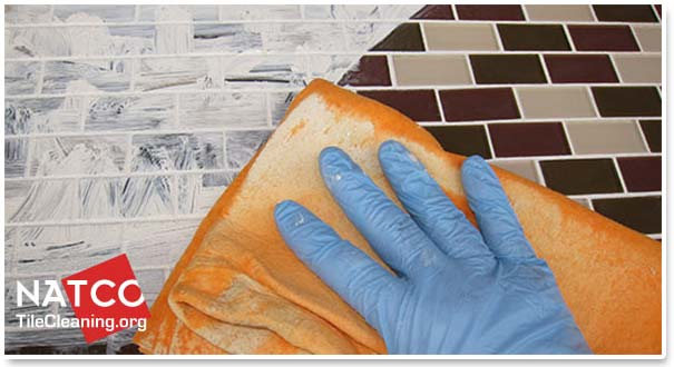 before and after dyed mosaic tile grout