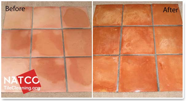 before and after sealing saltillo tiles