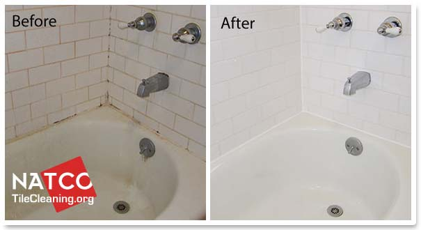 before and after cleaning a bathtub
