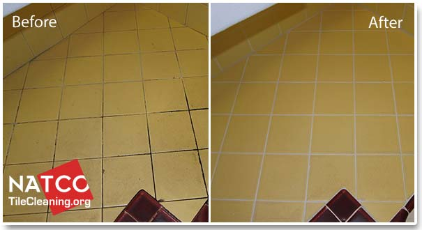 before after regrouting tile countertop