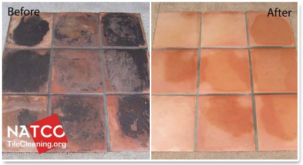 before and after stripping saltillo tiles